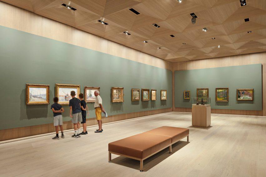 Interior of Snohetta Ordrupgaard Museum dedicated to Impressionism