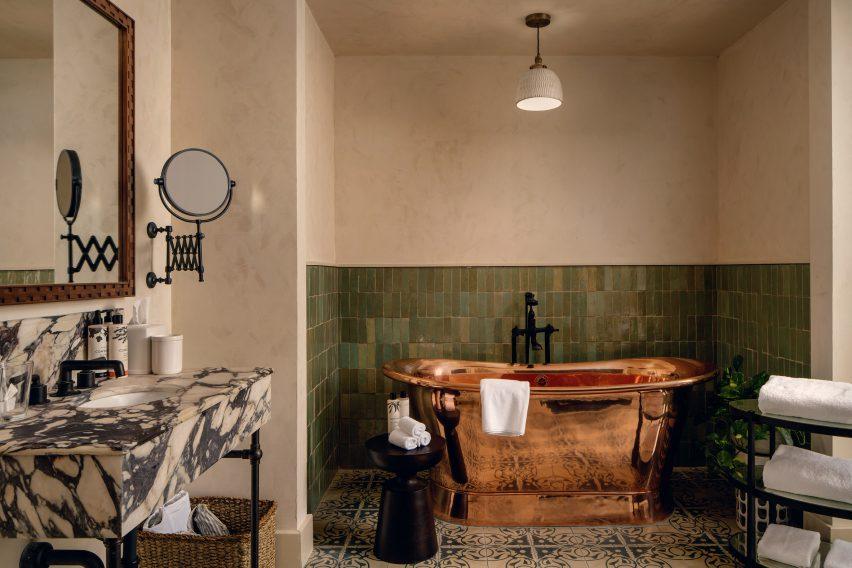 Bathroom with copper tub