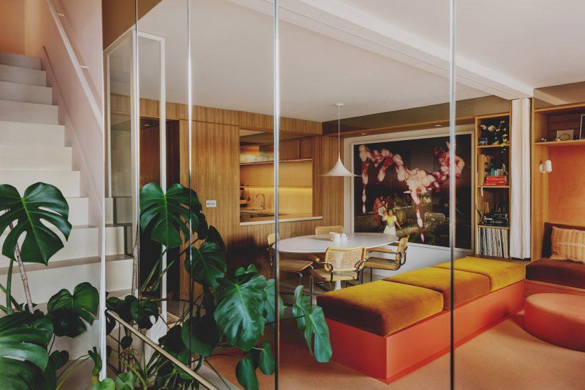 A bespoke velvet sofa in the living area