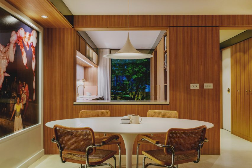 Studio Hagen Hall added wooden cabinetry to the kitchen