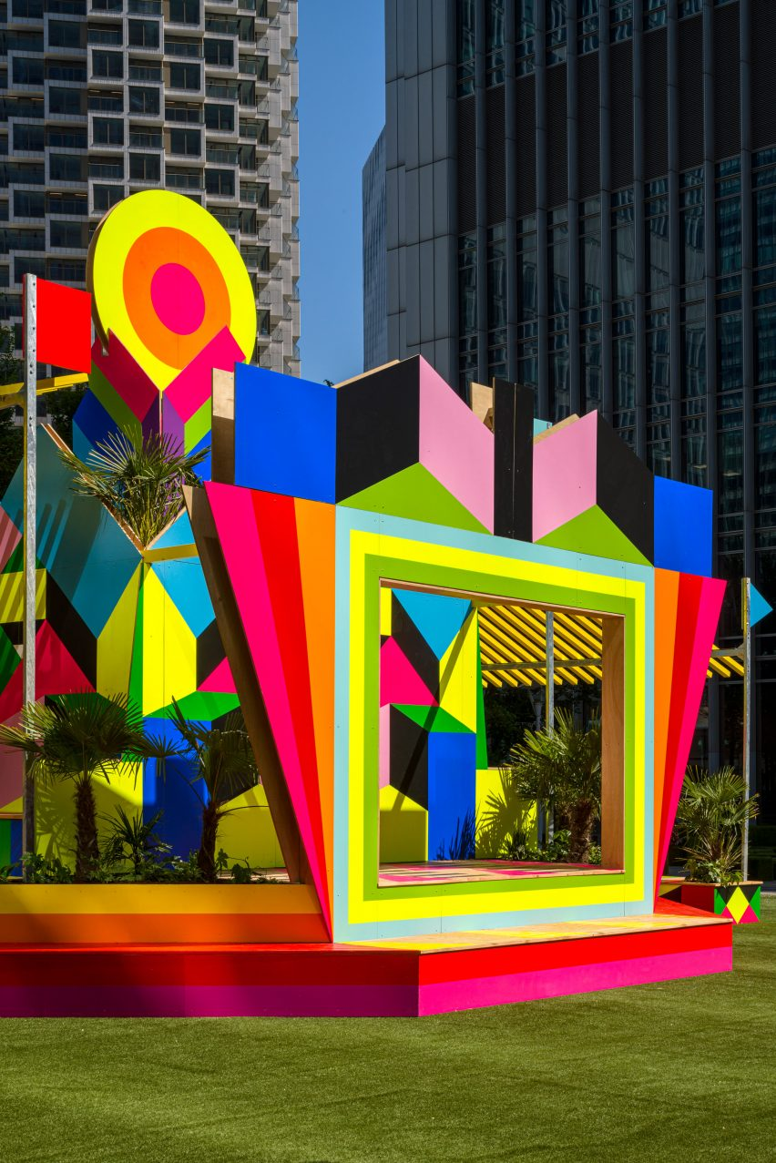 A colourful pavilion with a stage