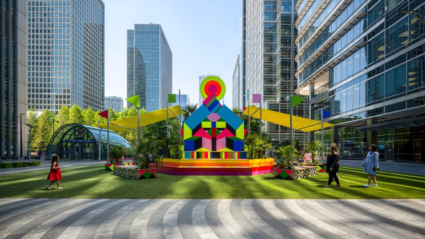 A colourful pavilion in Canary Wharf