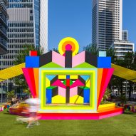 Morag Myerscough brightens Canary Wharf square with Sun Pavilion