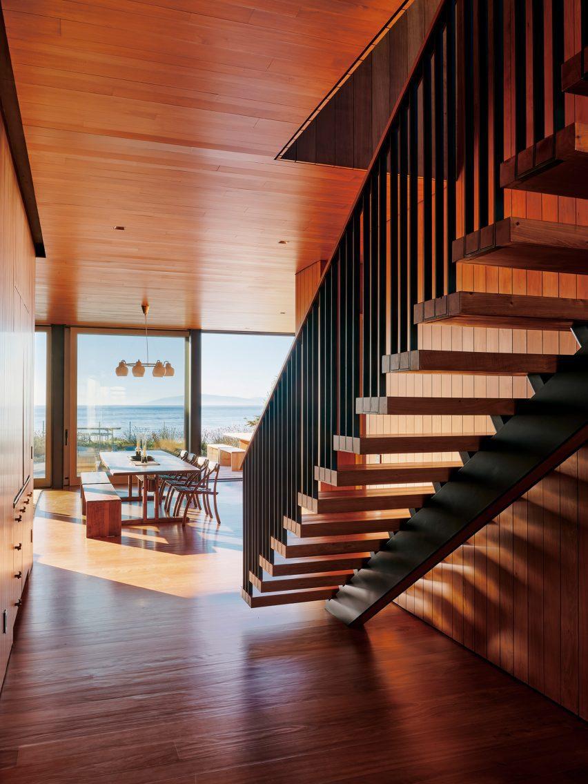 Wood also dominates interior spaces