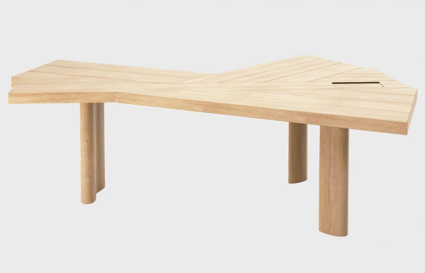 A photograph of a wooden desk