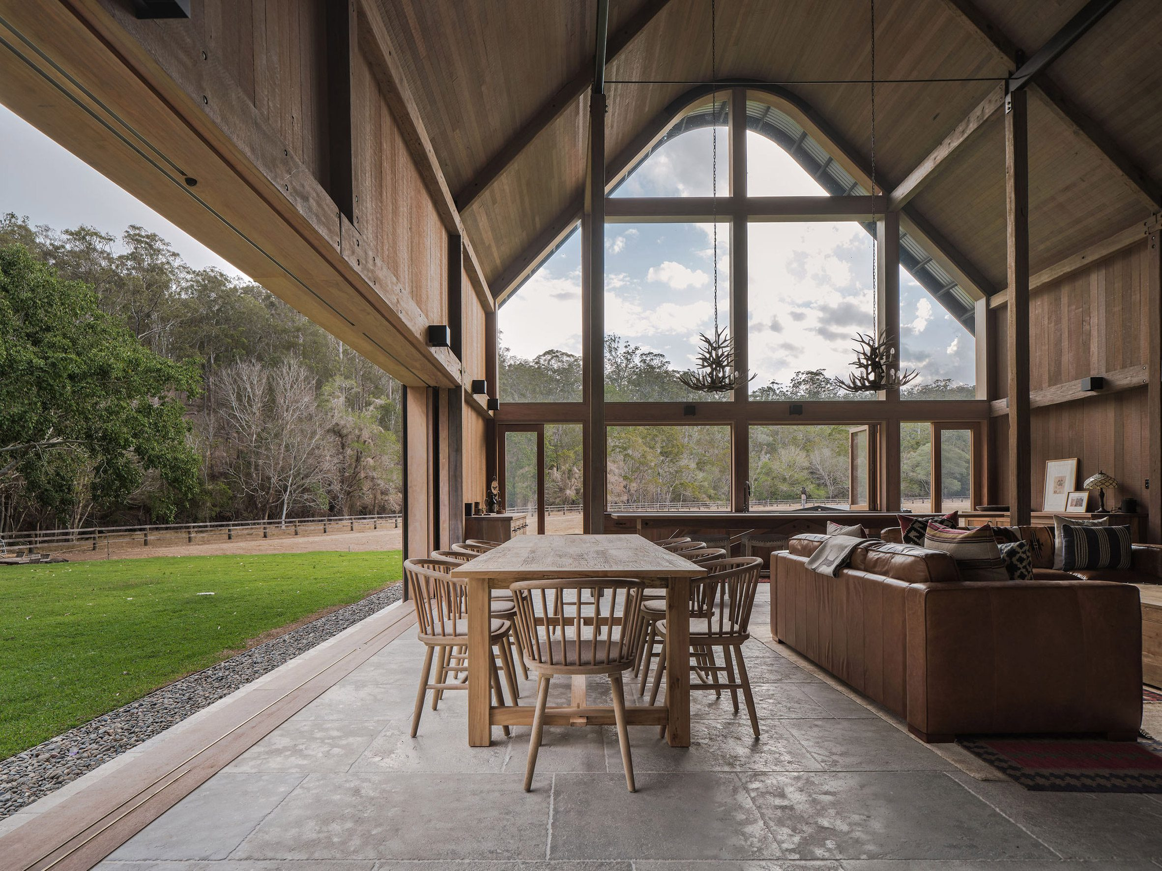 This Australian barn-like house has a gabled wooden roof