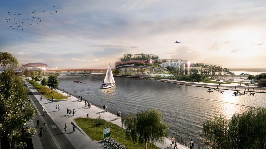 A visualisation of Ontario Place being turned into a wellness destination