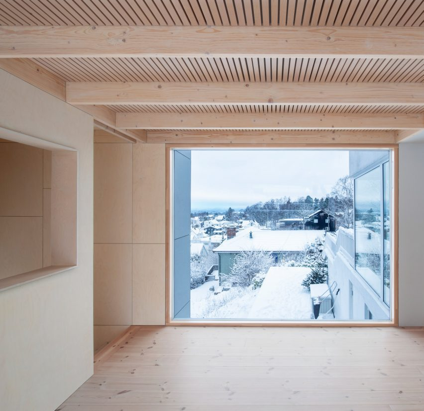 The wooden interiors of the Tower Bridge house extension