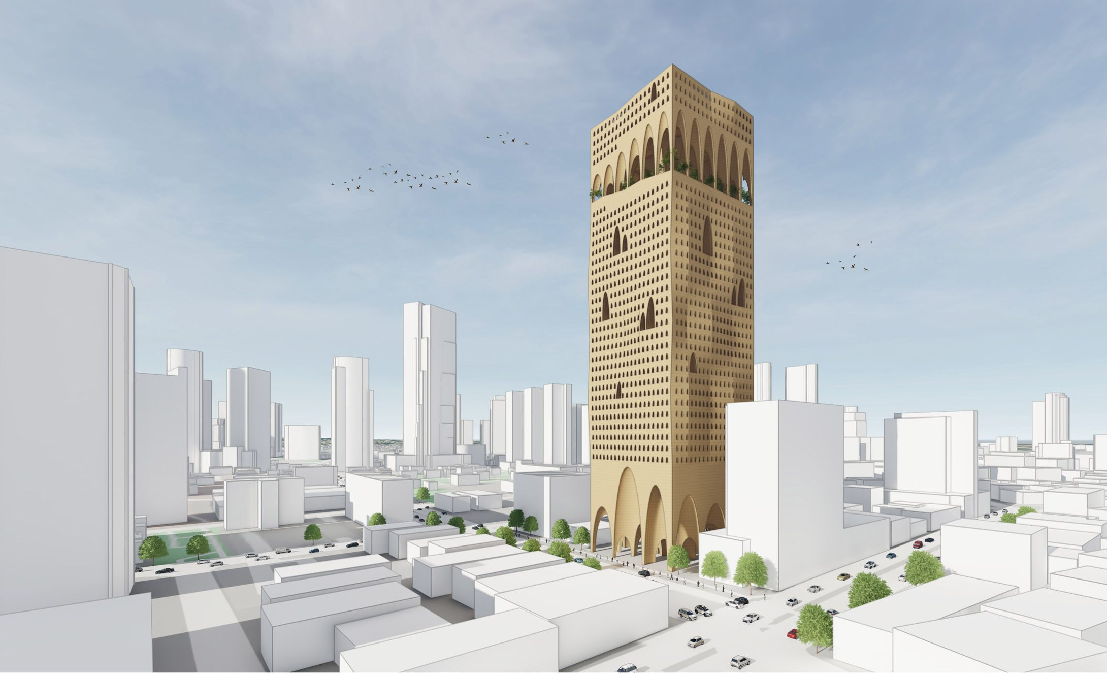 A visualisation of a golden skyscraper