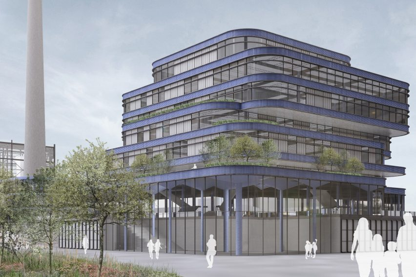 A visualisation of a building with purple facade