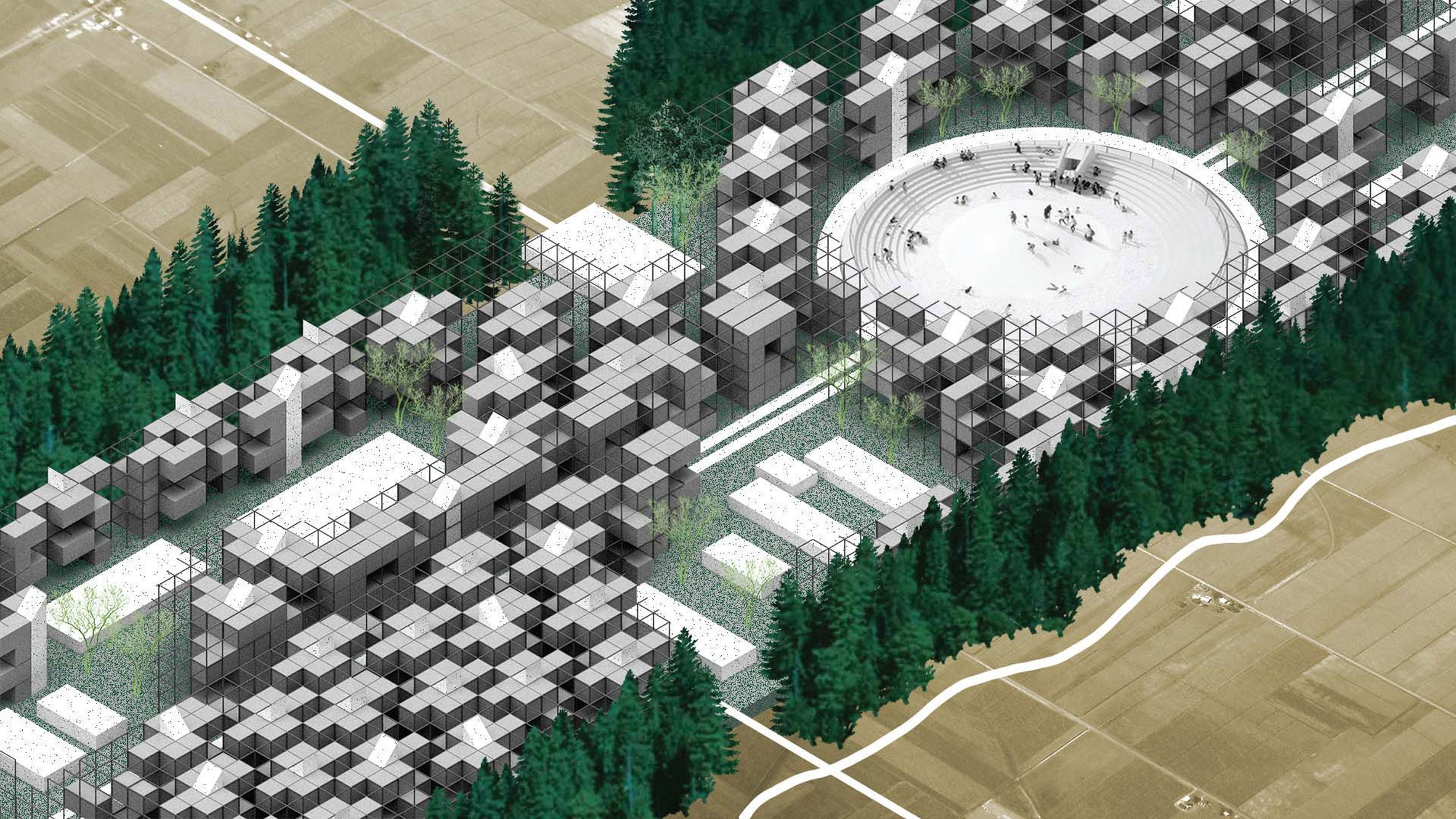 A bird's eye view model of a new urban environment with trees dotted around