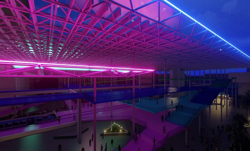 A visualisation of an urban shopping centre-like environment with neon lighting