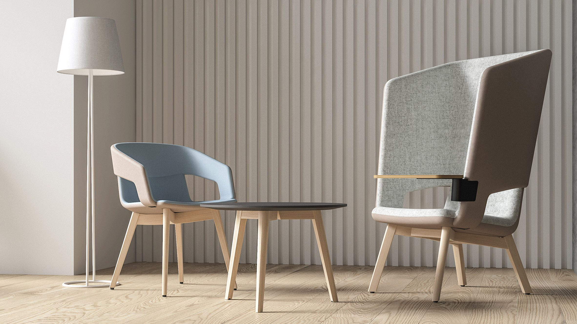 Twist & Sit Soft lounge chairs with high and low backs by Christina Strand and Niels Hvass