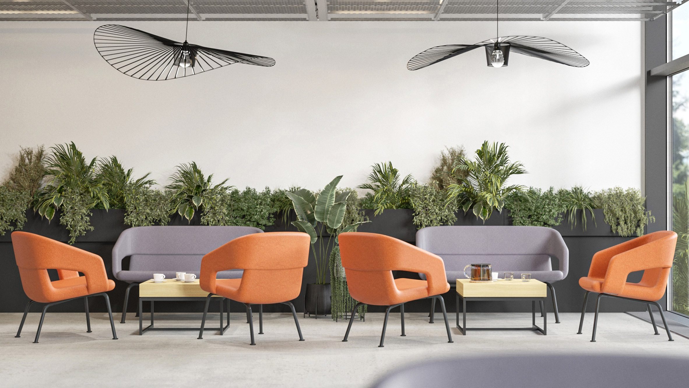 Narbutas seating with low backs in orange an purple within a casual cafe setting