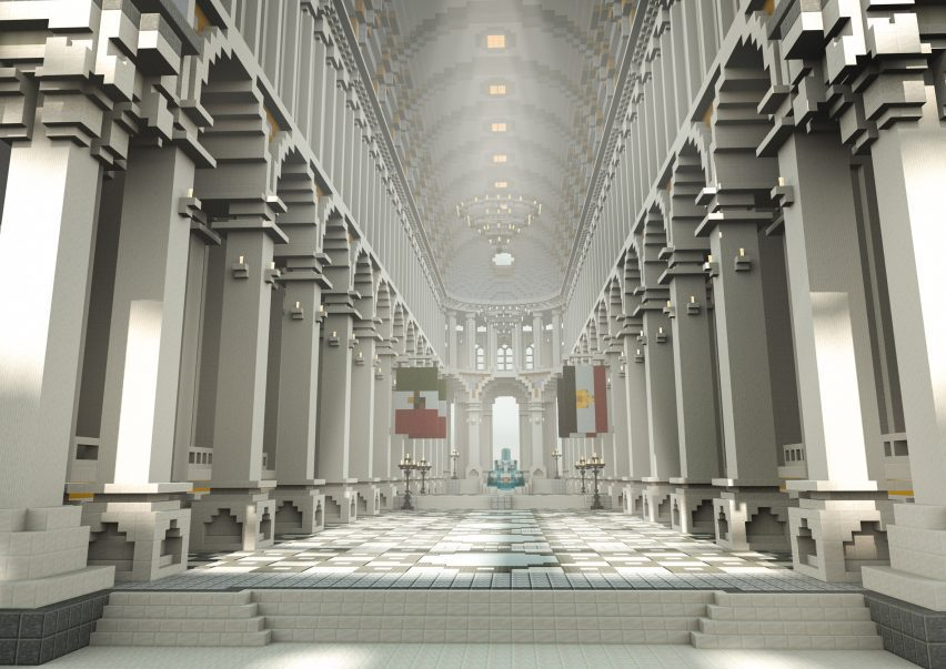 A white hall with columns inside The Uncensored Library