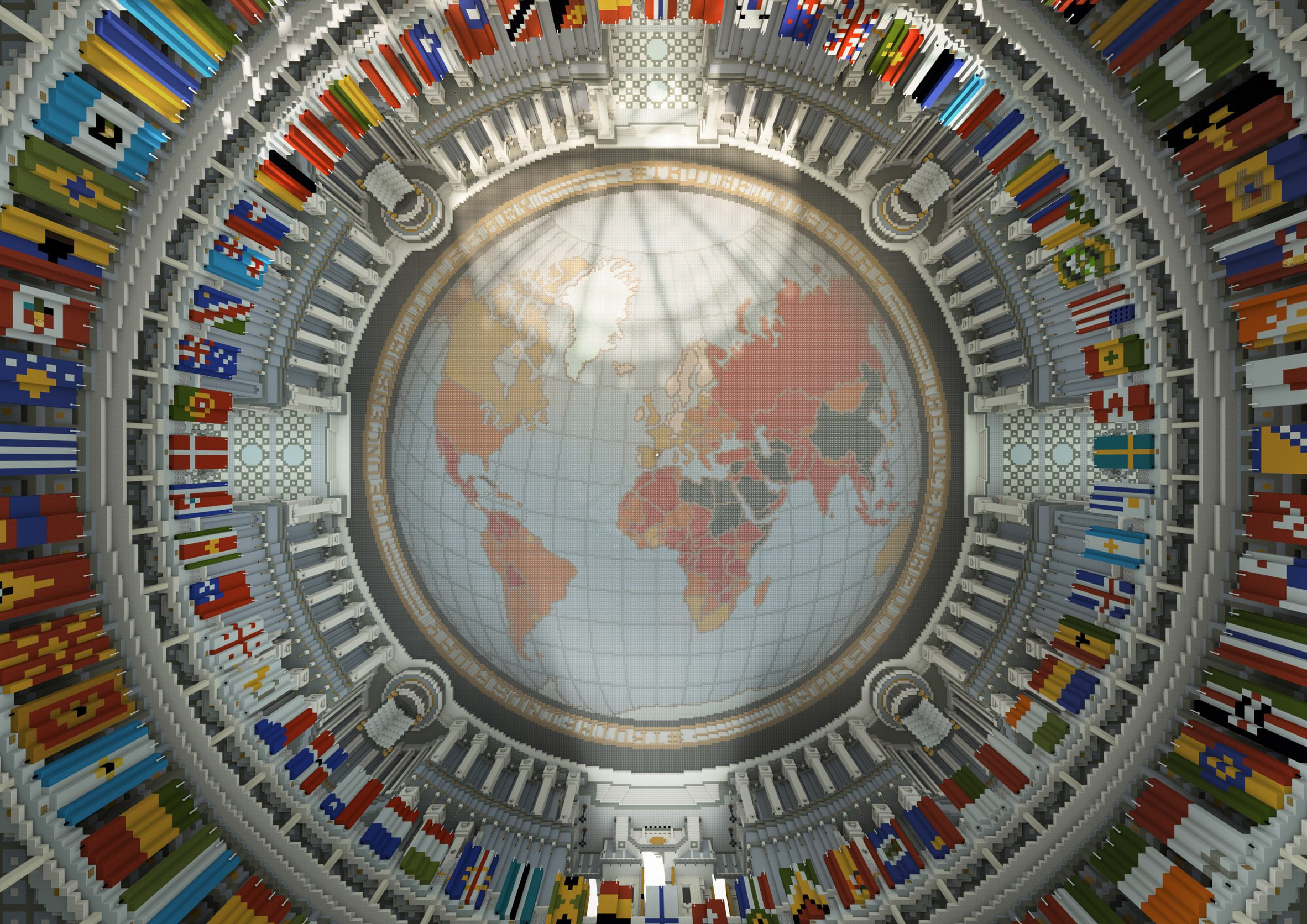 An map of the earth on a virtual library ceiling