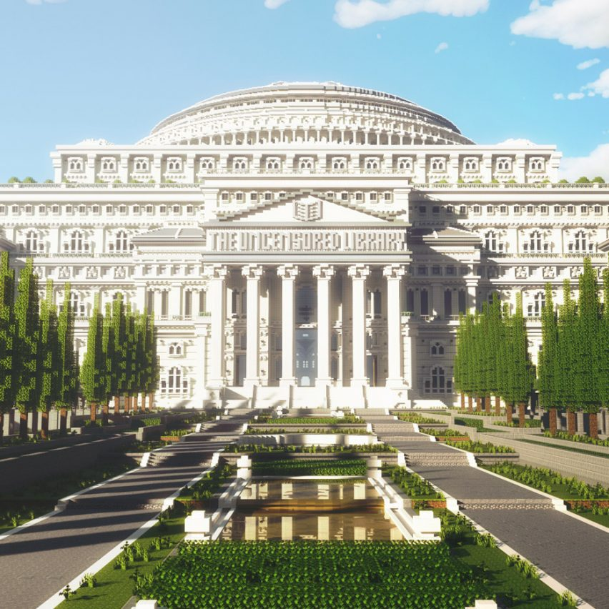 A white virtual library inside a Minecraft game