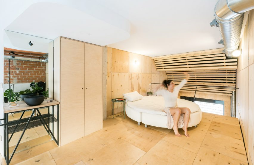 Bed in the Madrid loft