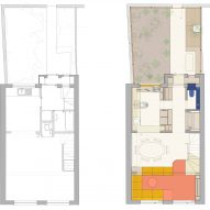 Upper ground floor plans before and after