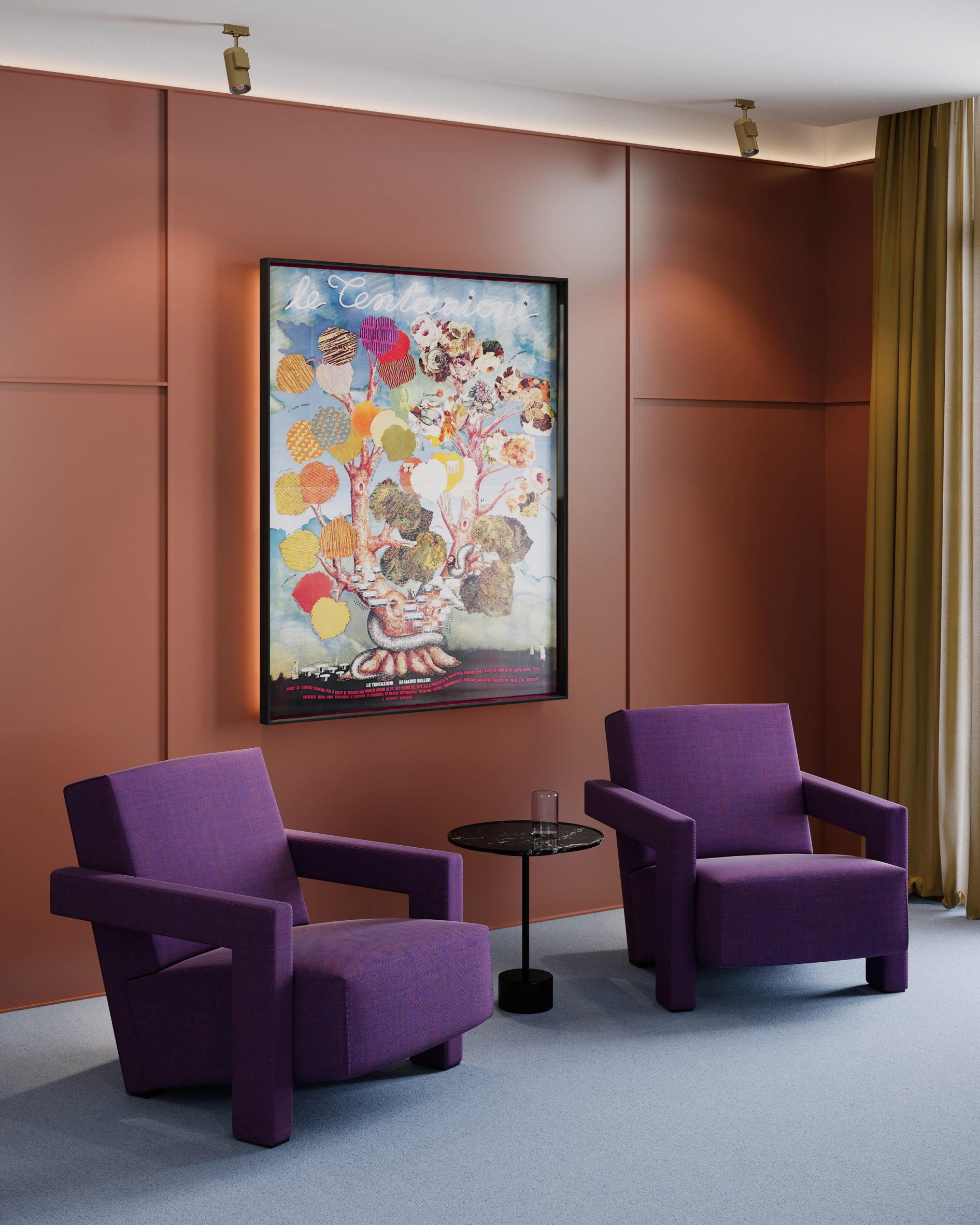 Purple Utrecht armchairs in a wood-panelled office with a floral artwork
