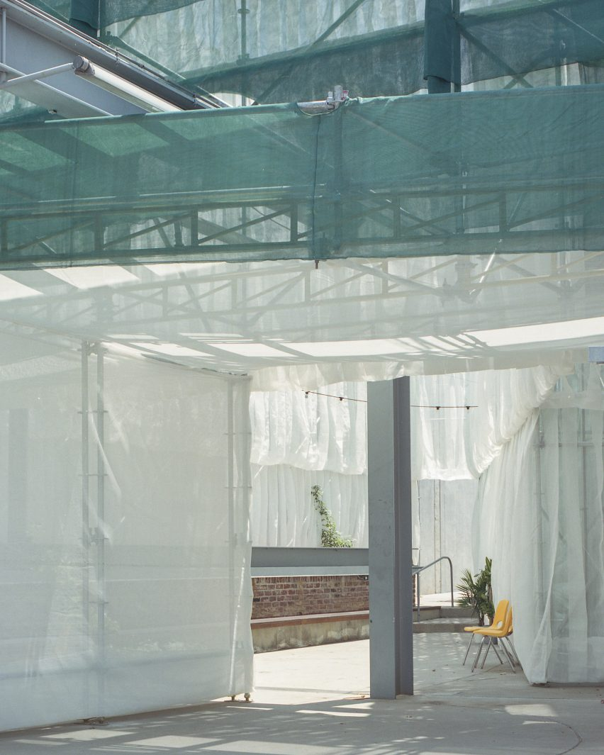 Green netting of of Veil Craft by Figure at Craft Contemporary