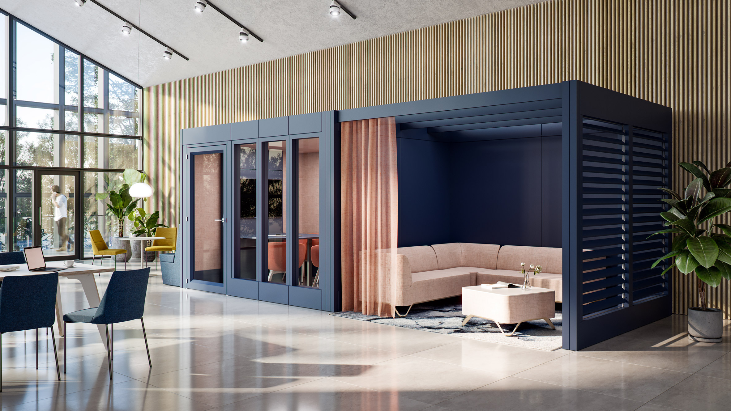 Black meeting room module inserted into an open workspace with a blush pink dividing curtain opening onto a relaxed meeting space with sofas