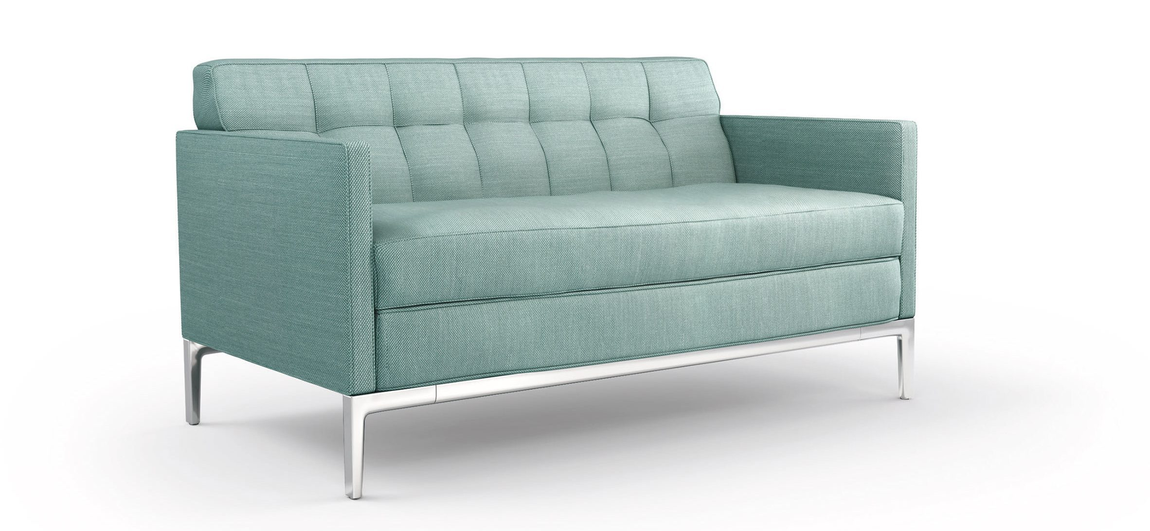 Seafoam blue sofa with chrome frame by Philippe Starck for Cassina