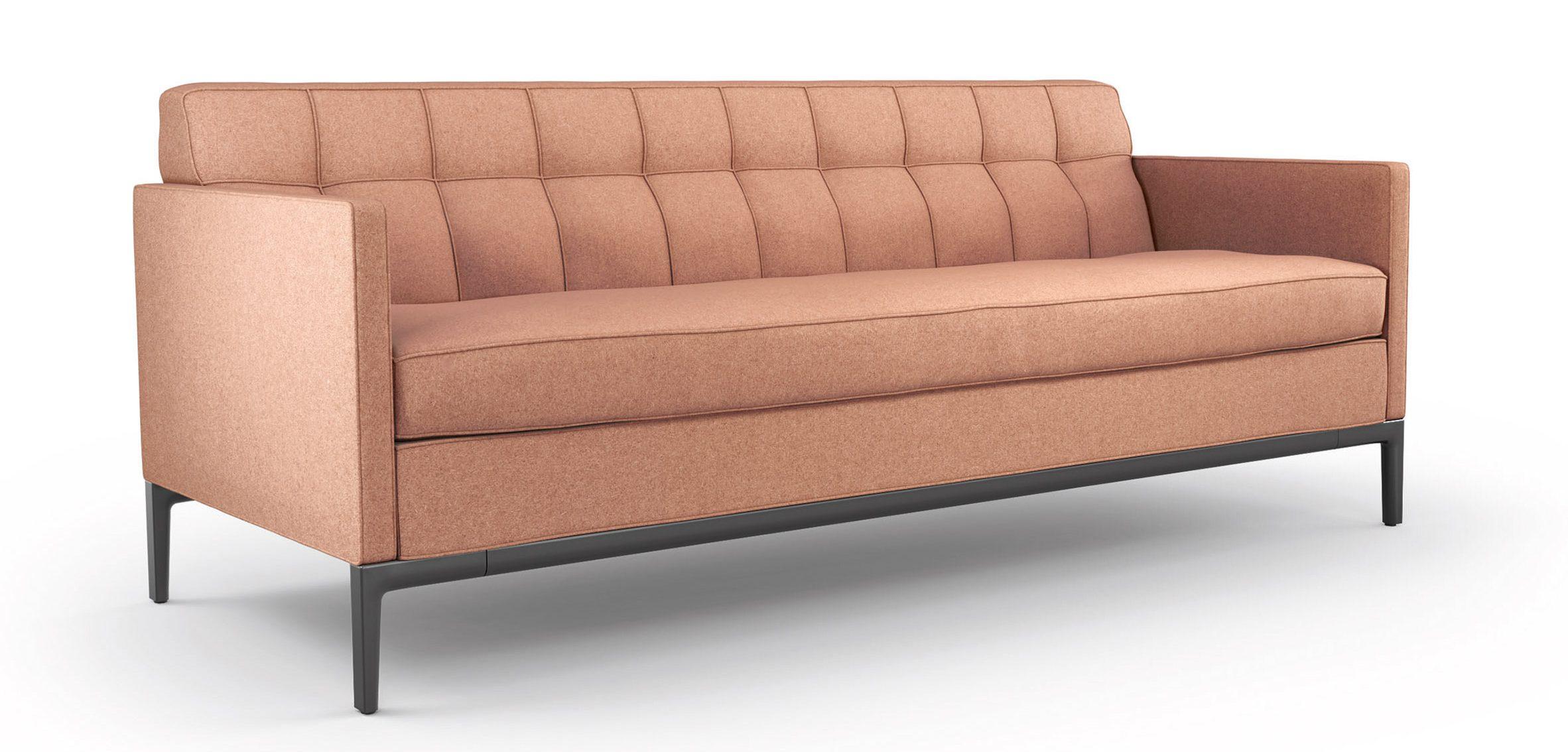 Peach coloured Volage EX-S Slim sofa with black frame