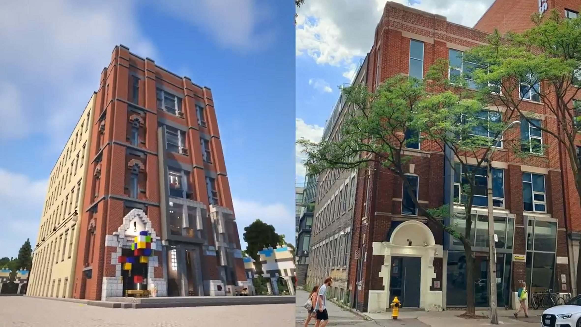 WPP Detroit campus in real life and in Minecraft