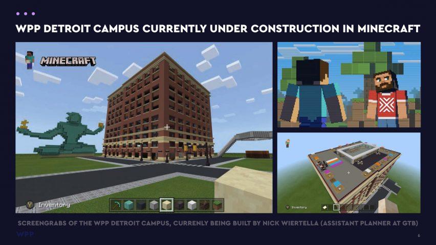 WPP Detroit campus under construction in Minecraft