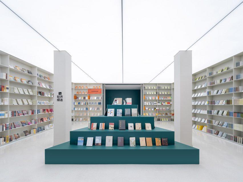 Dark petrol blue pyramid display stand in Duoyin bookstore