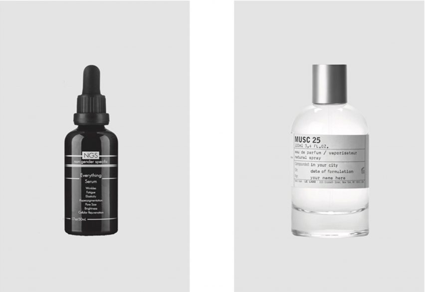 Masculine and feminine beauty products illustrated in XX,XY