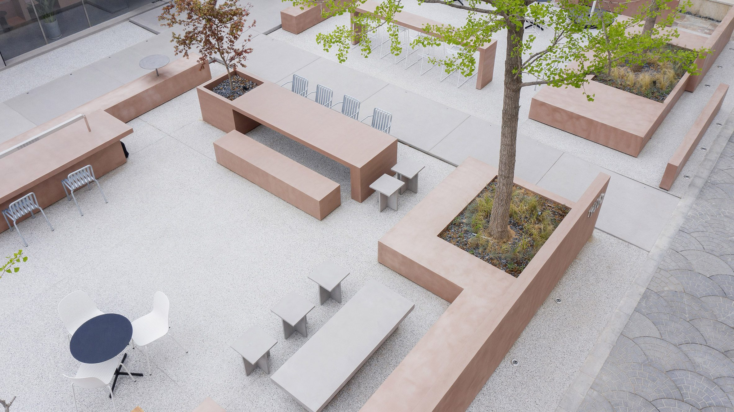 Outdoor seating area with blocky furniture