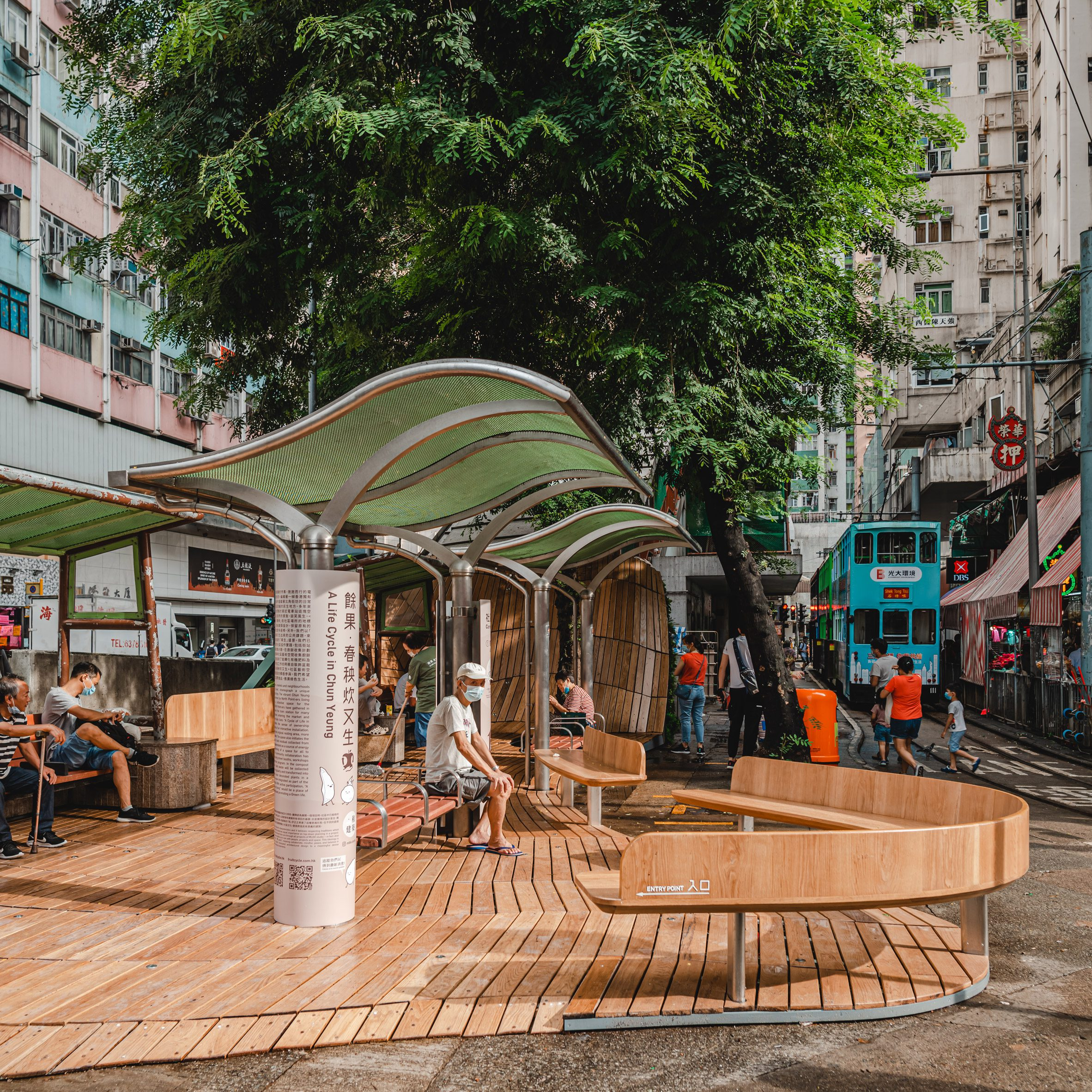 A photograph of a wooden installation called Cycle of Life in Hong Kong