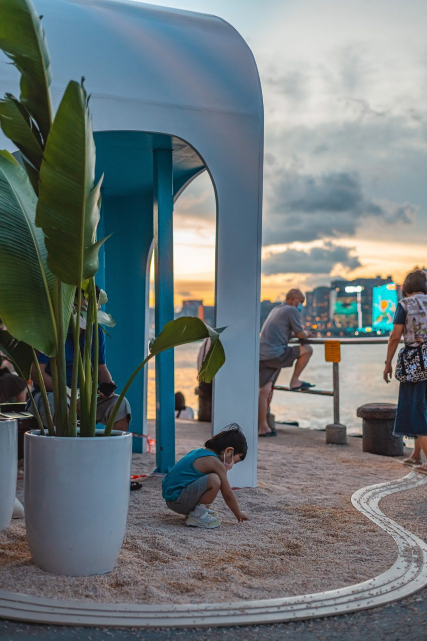A photograph of a child enjoying AaaM Architects' Hangout Islands