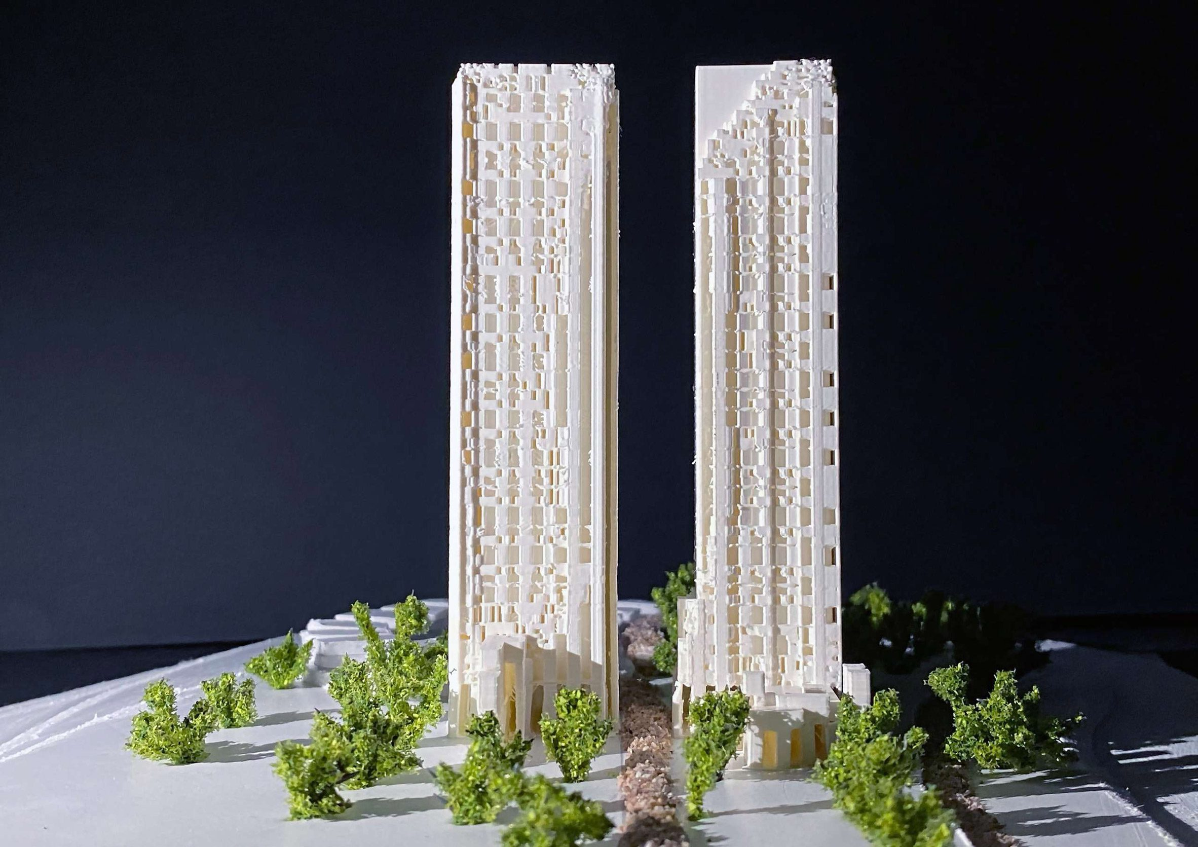 Architectural models of skyscrapers