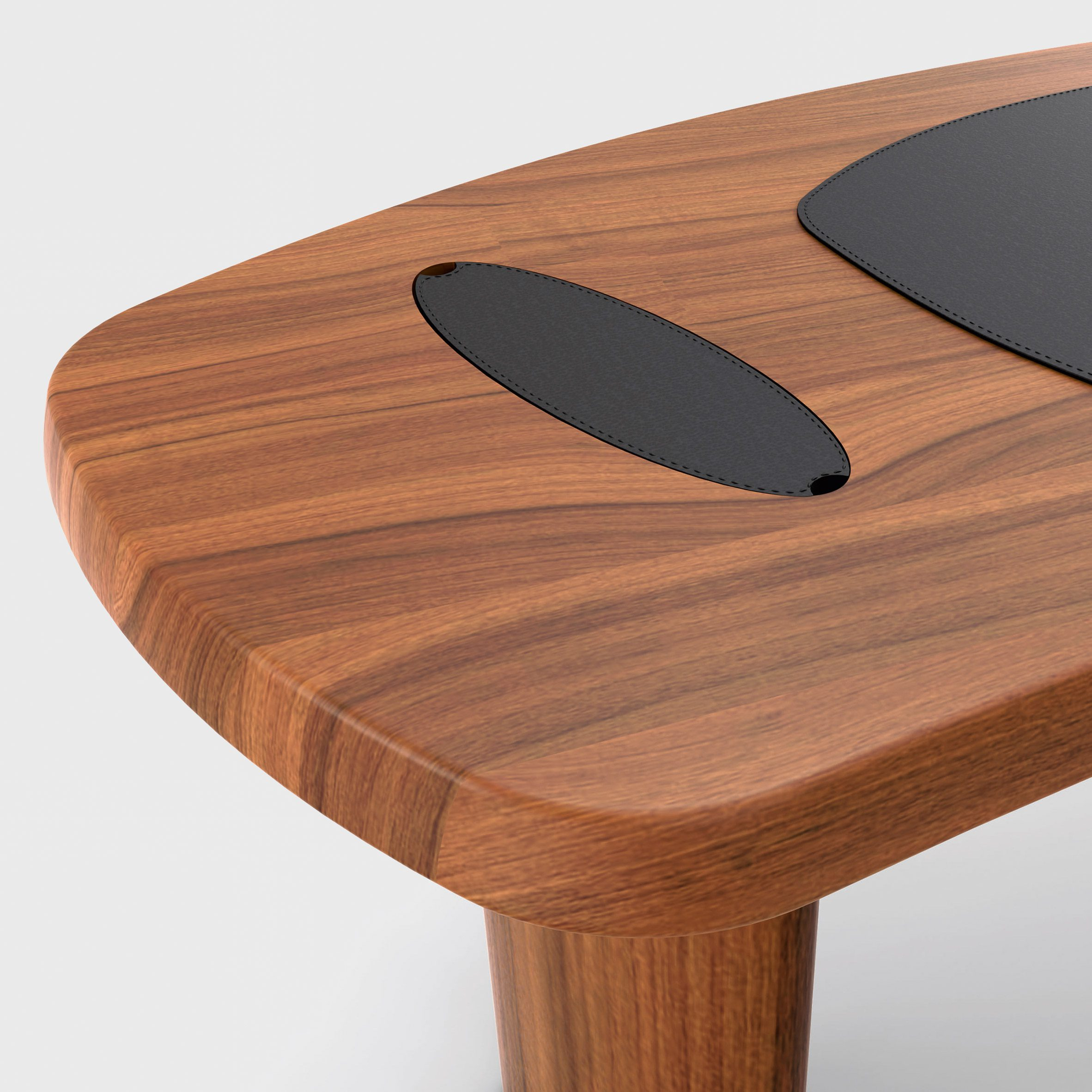The desk made from leather and wood