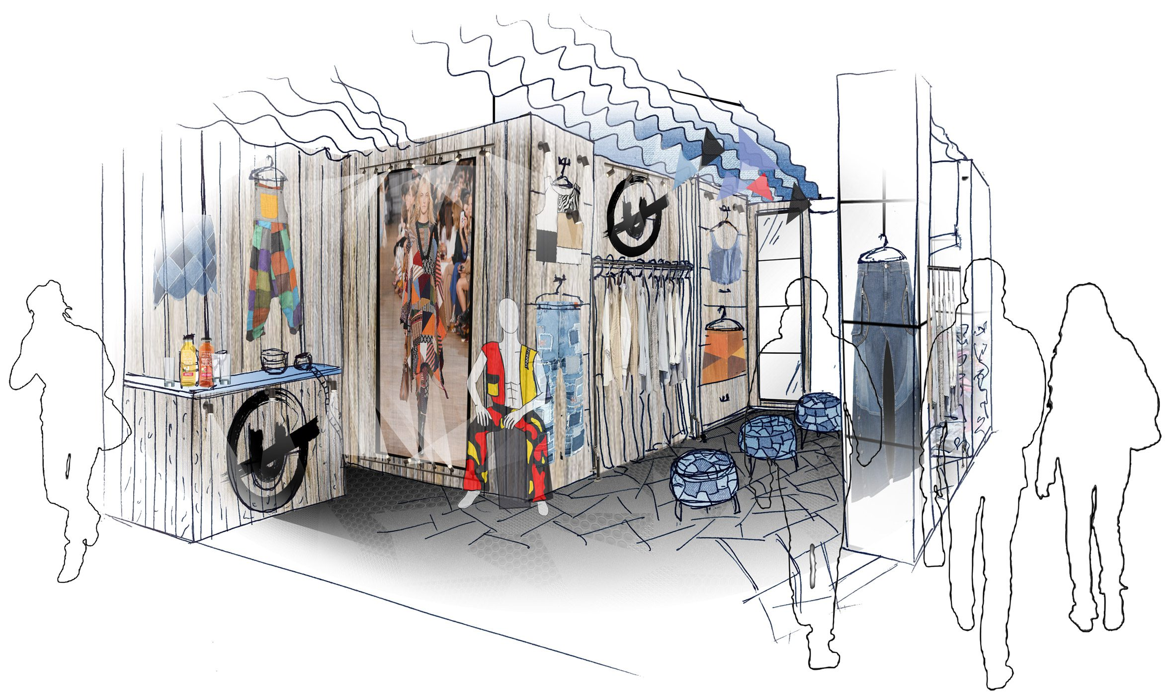An illustration of a pop-up shop that sells sustainable clothing