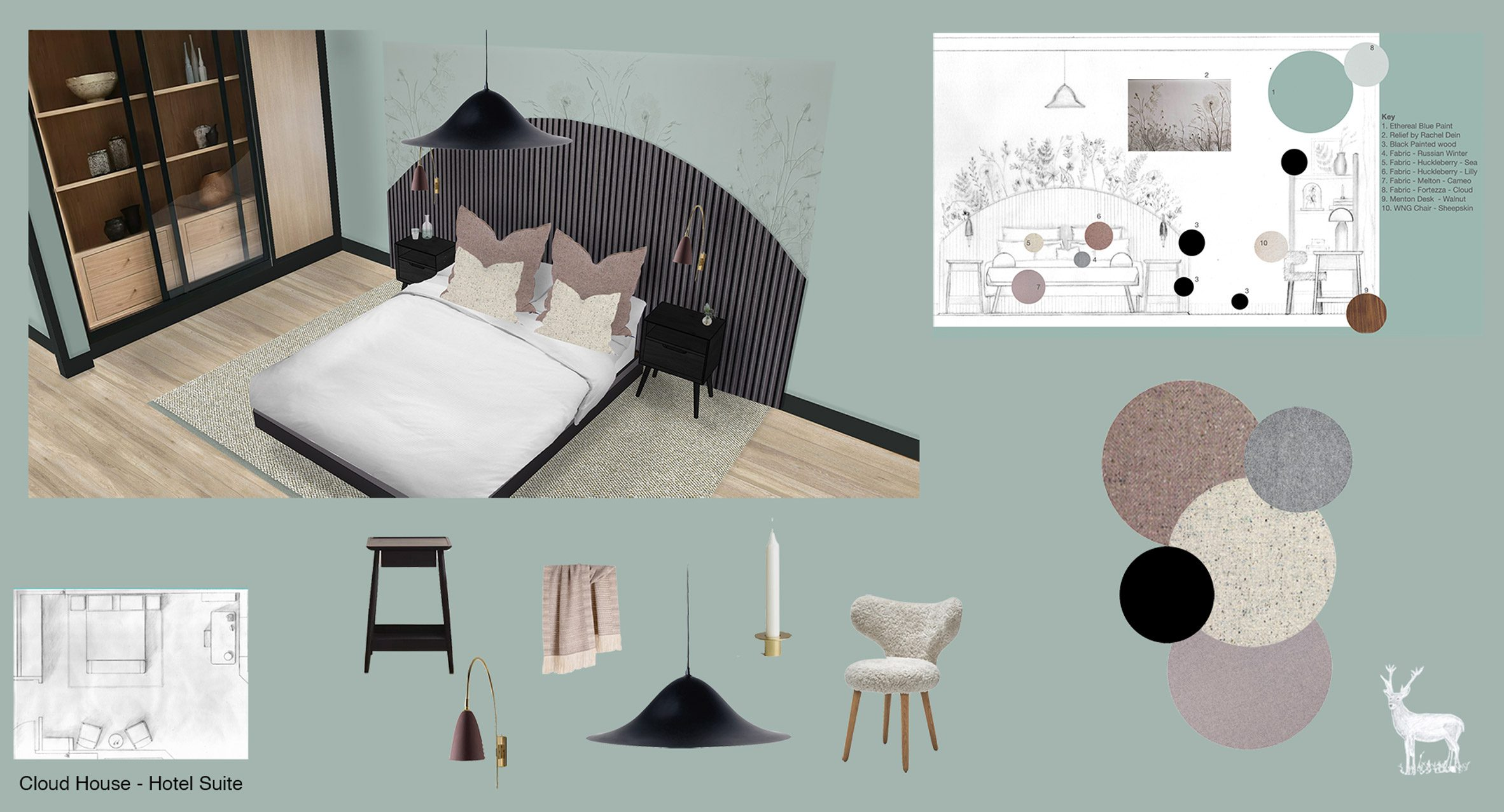 A visualisation of a hotel room inspired by nature