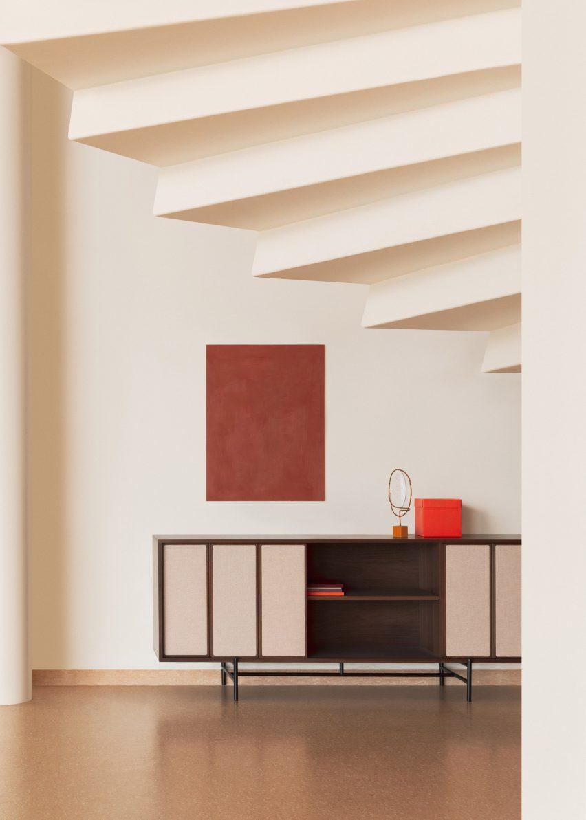 Wooden cabinet under stairs