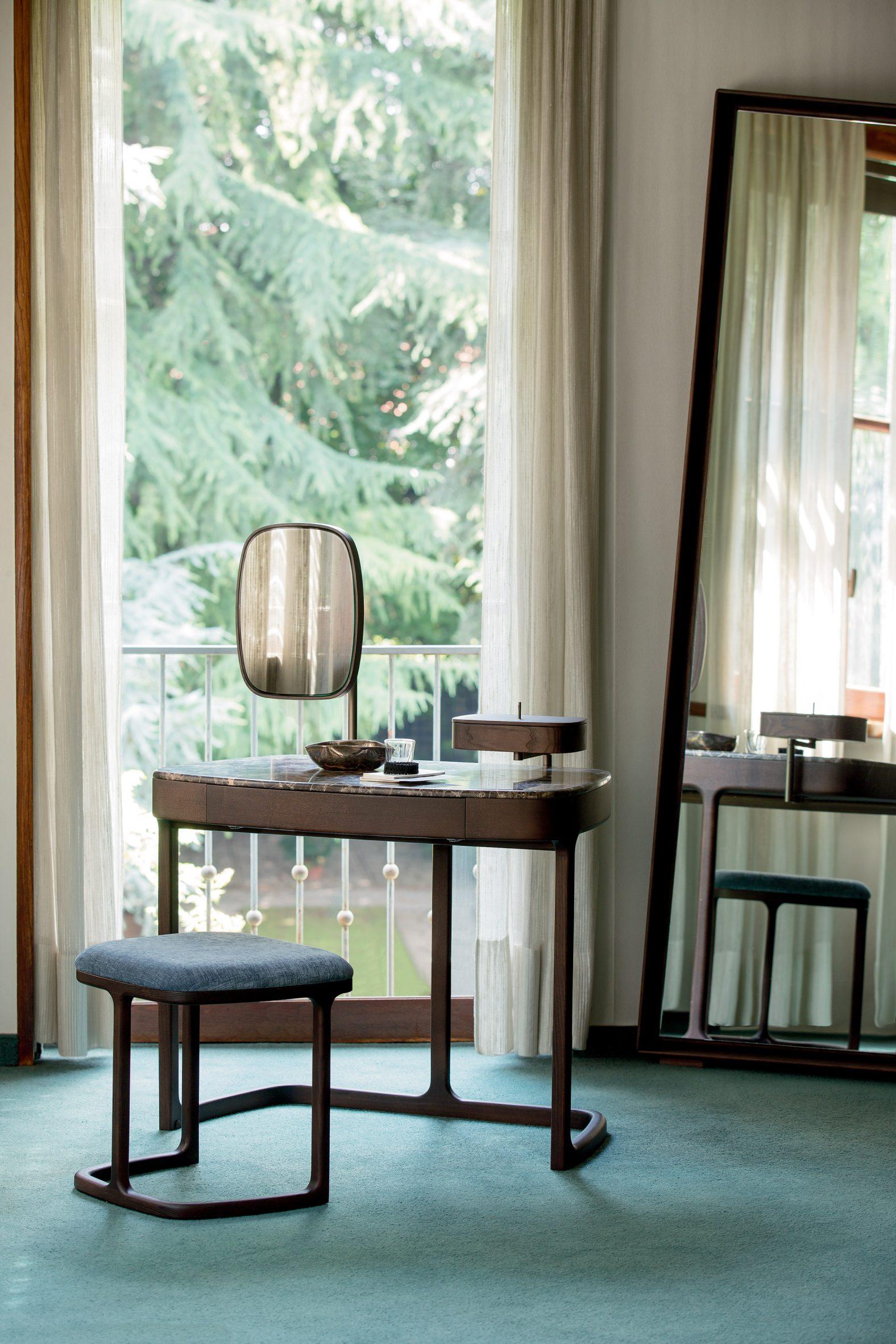 A photograph of Porada's wooden furniture