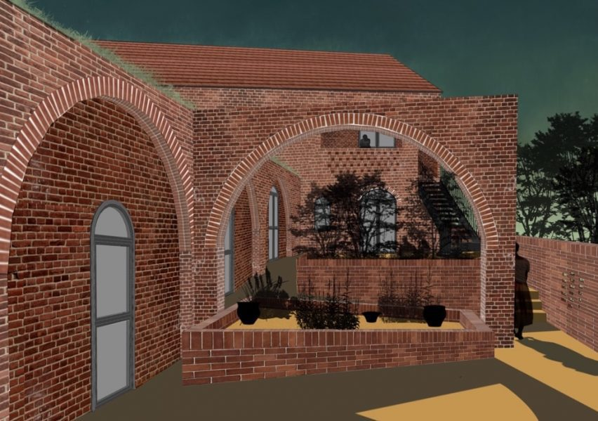 An illustration of a warehouse made with bricks