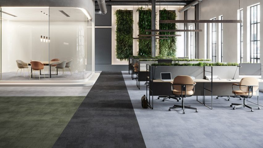 Rudiments carpet tile collection in an office setting