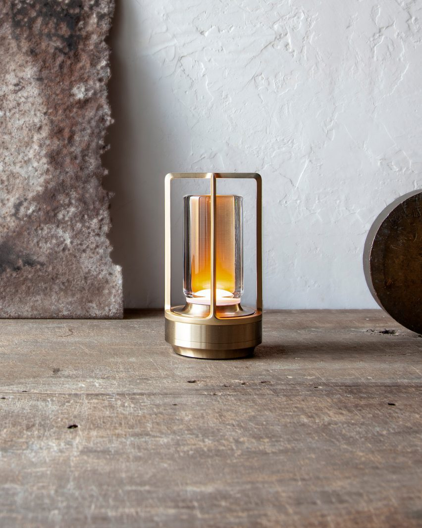 Close up of Turn+ portable lantern in brass