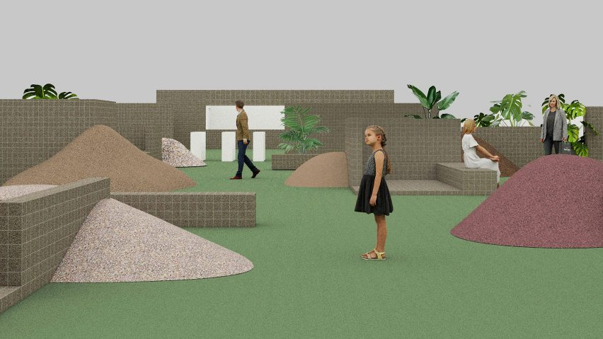 Render of the Unfinished Garden installation at Design China Beijing 2021