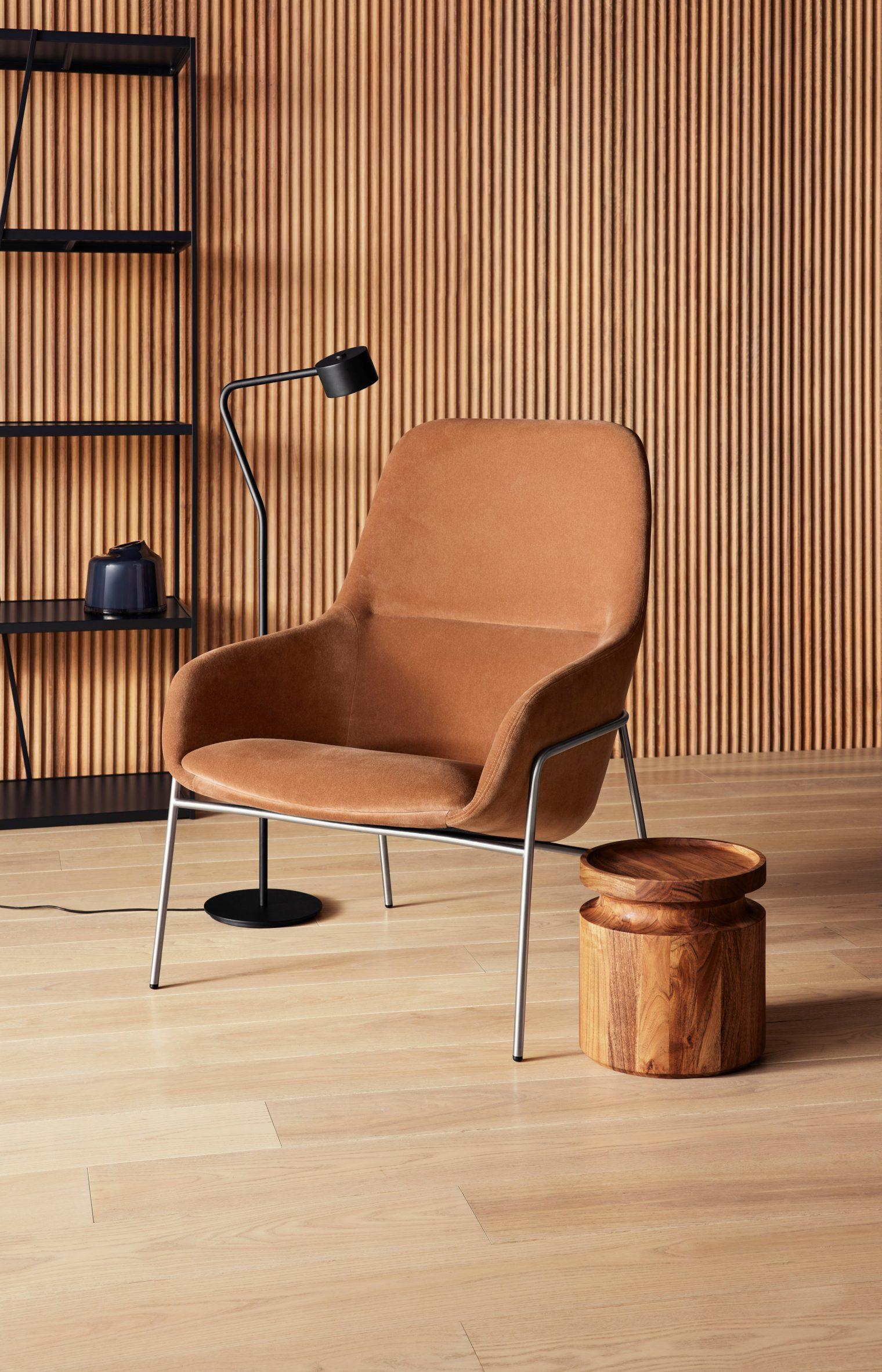 Acre Lounge Chair by Blu Dot in copper velvet