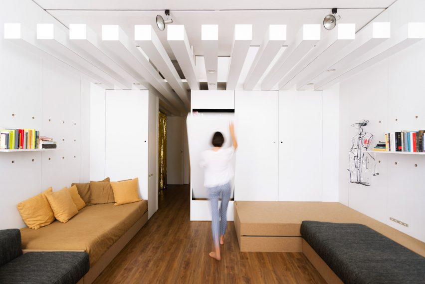Furniture folds out from cupboards