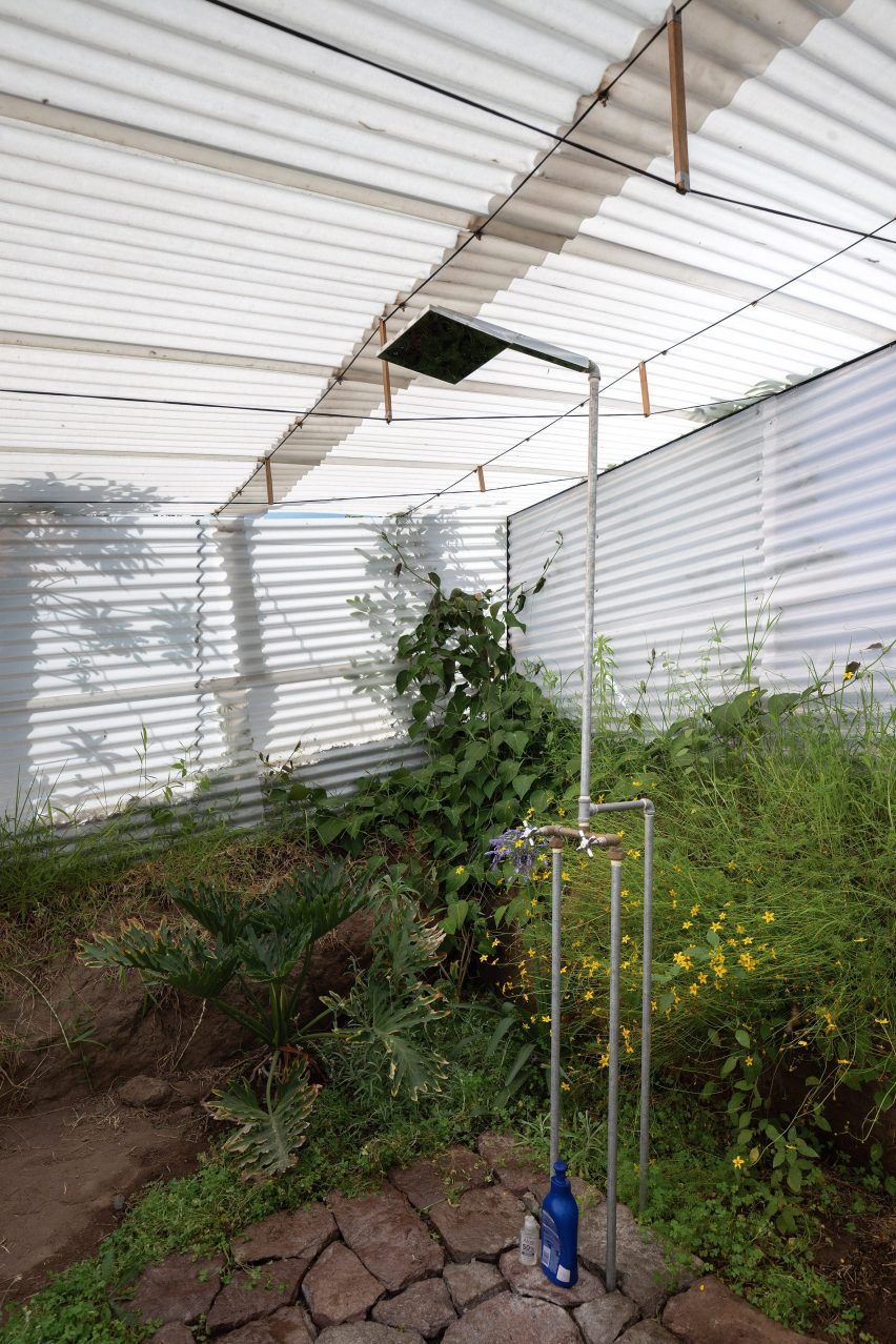 Greenhouse with a simple shower