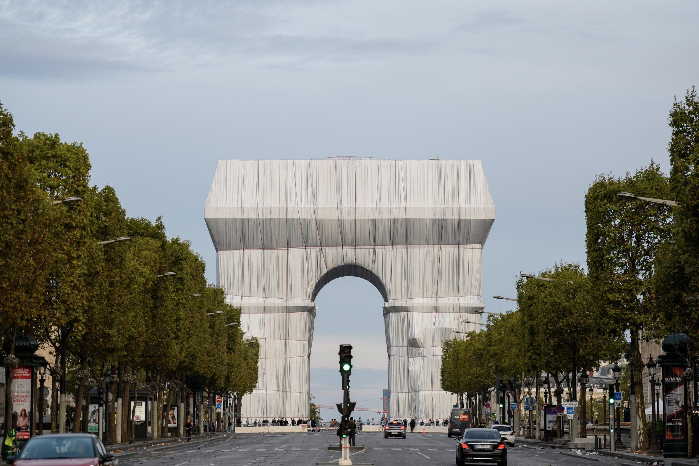 The Arc de Triomphe covered in fabric