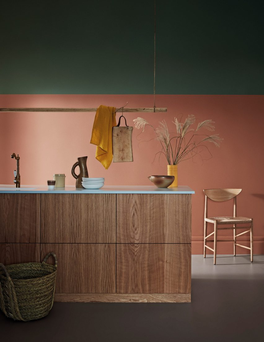 Crown Paints AW21 Trends timber kitchen with dusky pink and forest green walls